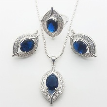 Traditional Montana Blue Sapphire Jewellery Units 925 Sterling Silver Earrings/Pendant/Necklace/Rings For Girls Free transport