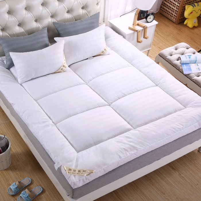new bed white beige pink thickening folding luxury goose quilted mattress topper 100 cotton