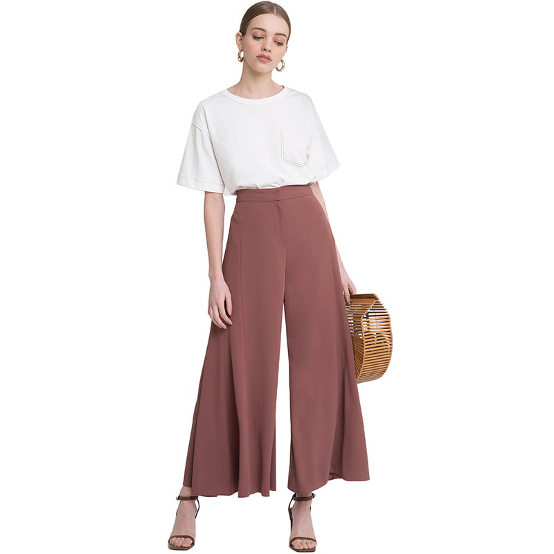 HDY Haoduoyi Woman 2019 New High Waist Wide Leg Loose Pants Solid Office Lady Brief Trousers For Female 6