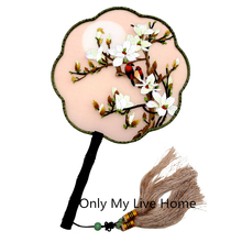 Ebony Handle Luxury Natural Silk Fan Decoration Handmade Double Embroidery Flower Chinese for Women Wedding Gift