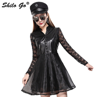 Fashion Women's Vintage Sexy Single Breasted Transparent Lace Sleeve Sheepskin Genuine Leather Organza Ball Gown Dress