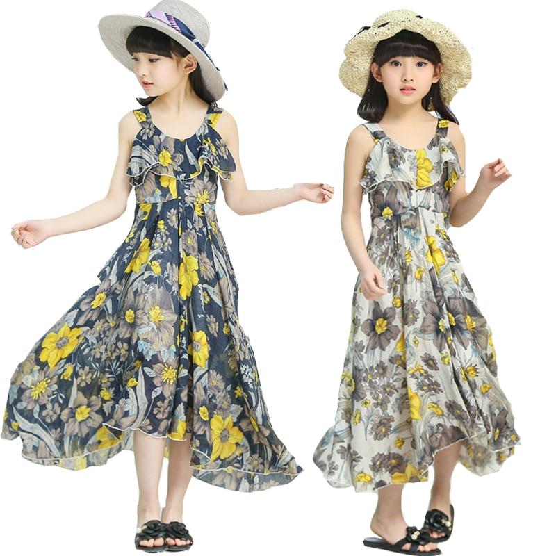 Summer Bohemian Dresses For Girls Maxi Beach Dress Floral Print Vocation Dress Brand Casual Children Clothing 4 6 8 10 12 Years g2 chic women s bohemian summer maxi dress
