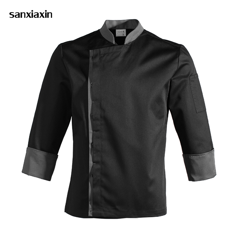 New Chef Clothes Long Sleeves Waitress Uniform Hotel Canteen Cake Bakers Kitchen Ladies Chef's Jacket Work Clothes Unisex Black