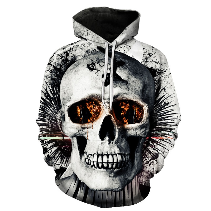 BIANYILONG Skull 3D Print hoodies Hip Hop Autumn Sweatshirts Pockets Jackets Fashion Brand Outwear Hooded Coat Hip Hop