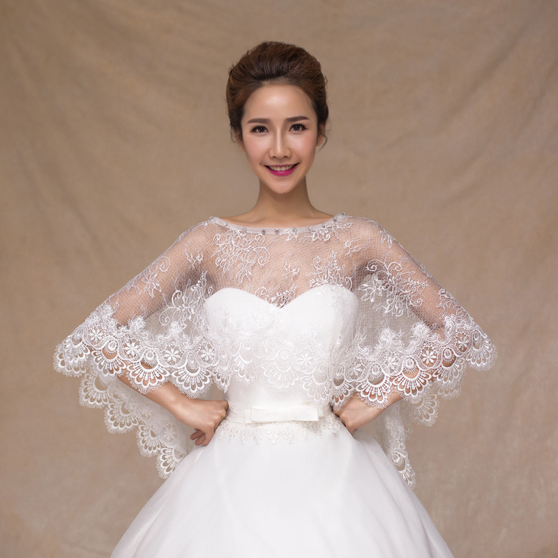 2016 Cheap ivory off shoulder bridal lace bolero Crystal Cape low front long back wedding party shrug women Shawls Accessories(China (Mainland))