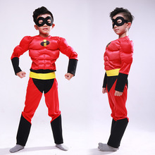2019 New Kids Carnival Clothing Children Agent Superman Bob Parr The Incredibles Halloween Cosplay Party Role Play Costume