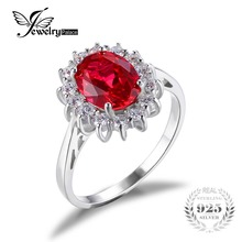 JewelryPalace Princess Diana William Engagement Wedding Red Ruby Ring Set Pure Solid Genuine 925 Sterling Silver Jewelry