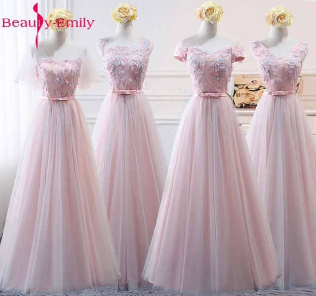 Beauty-Emily Pink Organza Bridesmaid Dresses 2018 Appliqeus A-Line Short Sleeve Formal Wedding Occasion Party Prom Dresses