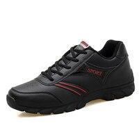 Gorący Bubel 2017 Mens Running Sneakers Sprzedaż Jesień Zima Męskie Skórzane Trenerzy Walking Jogging Sneakers Czarne Trampki Sklep Internetowy