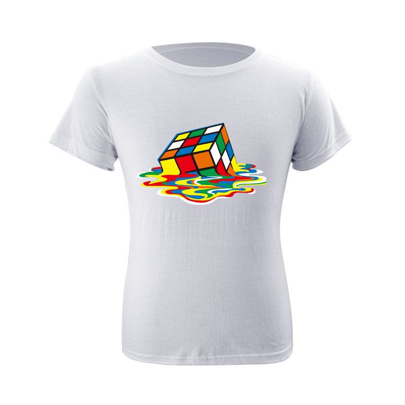New Summer Cotton T-shirts Mens Short sleeve O Neck Loose Comfortable T Shirt Women Cube Printed Hip Hop Tops Fathers Day Gift