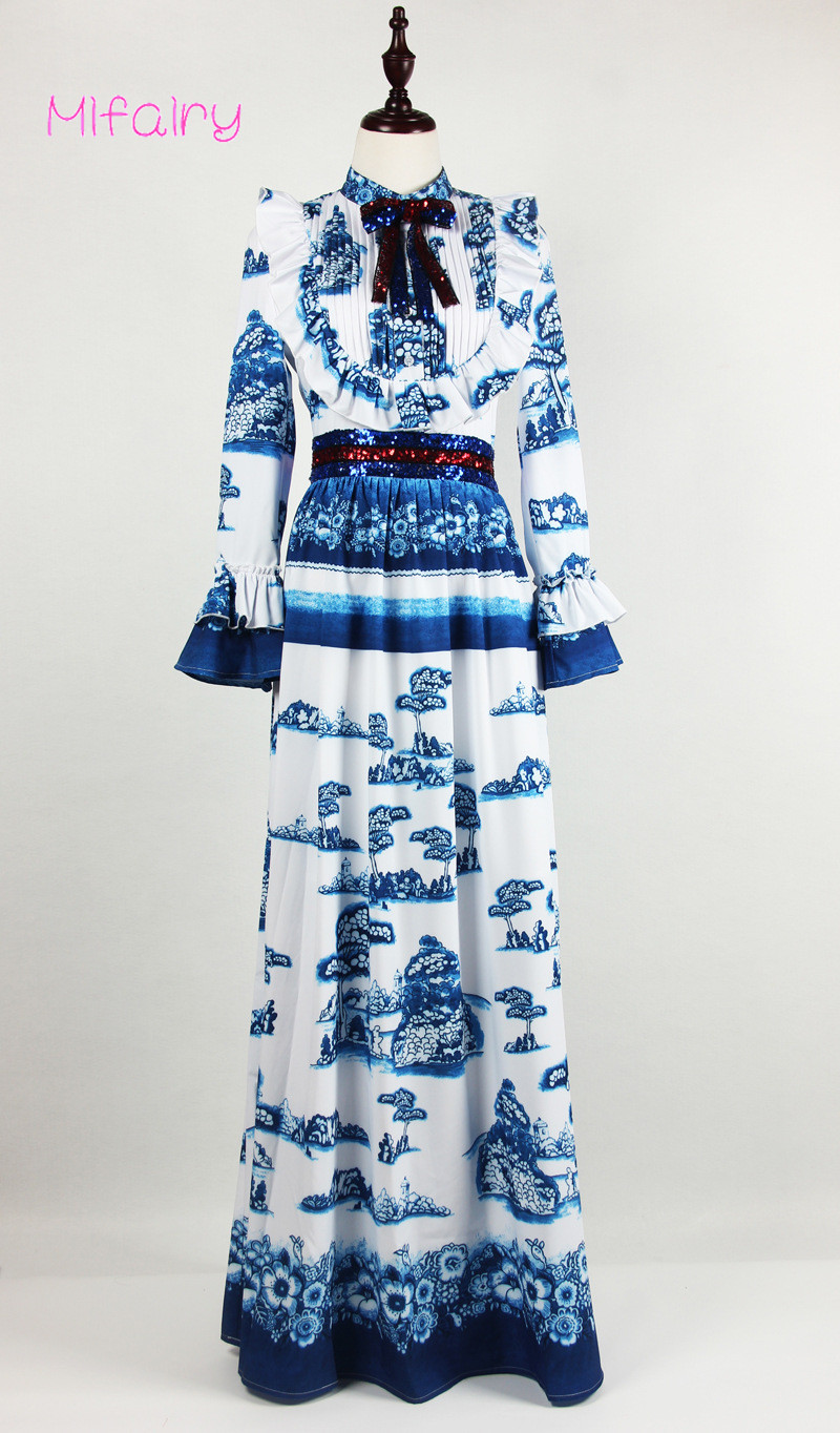 2017 Stand Long Sleeves Blue And White Porcelain Print Long Women Dress Plus Size Floor Length Bow Sequins Maxi Dress 92235