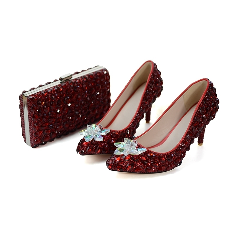 Red Wine Color Wedding Party Shoes LUxurious Rhinestone Bridesmaid Shoes with Matching Bag Pointed Toe Cinderella Prom Heels 8cmRed Wine Color Wedding Party Shoes LUxurious Rhinestone Bridesmaid Shoes with Matching Bag Pointed Toe Cinderella Prom Heels 8cm