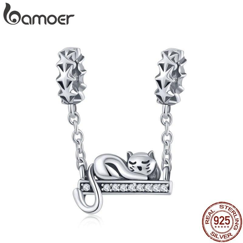 BAMOER 925 de plata esterlina gato Adorable estrella encantos estrella pavimenta encanto pulsera y collares de la joyería de DIY regalo de Navidad SCC856
