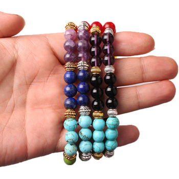 CAMDOE DANLE 7 Chakra Stone Bracelet Natural Beads Healing Reiki Prayer Buddha Beads Bracelet Men Charms Yoga Bracelet For Women 4