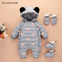 2018 For RU Winter White Duck Down Baby Rompers Baby Snowsuit Infant Boy Girl Cartoon One piece Outfit Children's Down Clothing