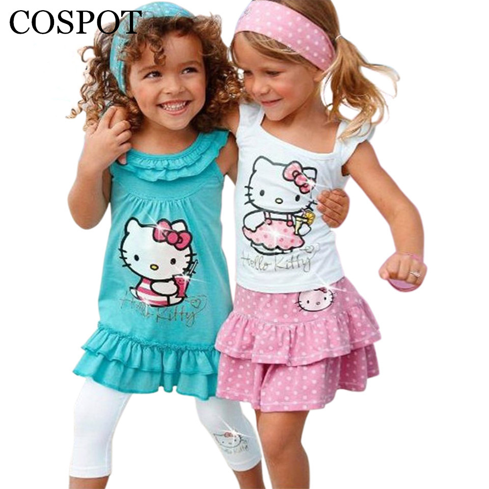 Summer Baby Girl Hello Kitty Set Girls Cartoon 3Pcs Headband + Kjole + Bukser Children Clothing Sets Kids Girls Clothes 2019 Ny 10F