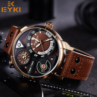 EYKI Men Army Sport Luminous Quartz Wristwatch Luxury Male Clock Black Leather Watchband Man Waterproof Watch