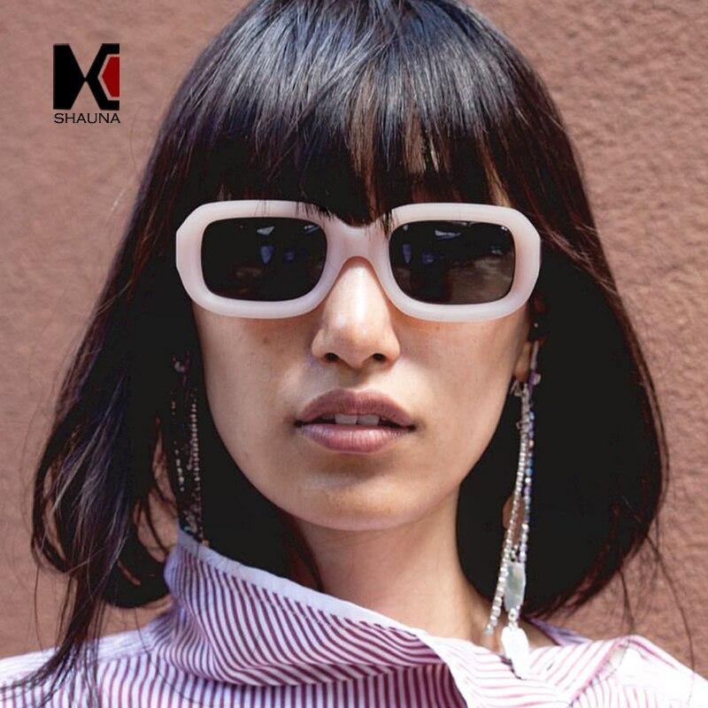 SHAUNA Fashion Women Square Sunglasses Vintage Men Metal Hinge Shades UV400