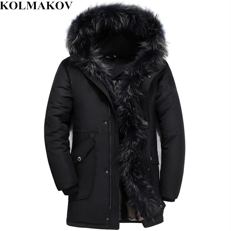 KOLMAKOV New Duck   Down     Coats   Men Winter Mens Goose   Down   Jacket Fluff Liner Warm Hooded Jackets Parkas Homme S-5XL Fur   Coats   Male