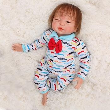"""DollMai brand Reborn dolls toys 18""""48cm cloth body soft silicone reborn baby dolls gift boy girl Bebes reborn boneca"""