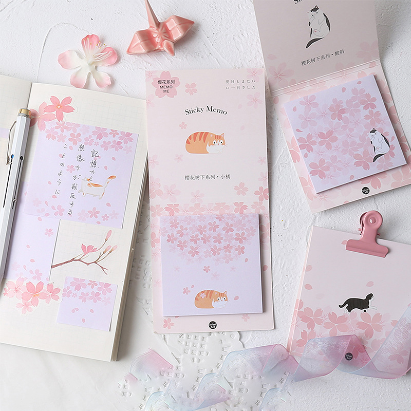 30 Sheets Romantic Sakura & Cats Memo Pads Marker Message Sticky Notes Decor School Stationery