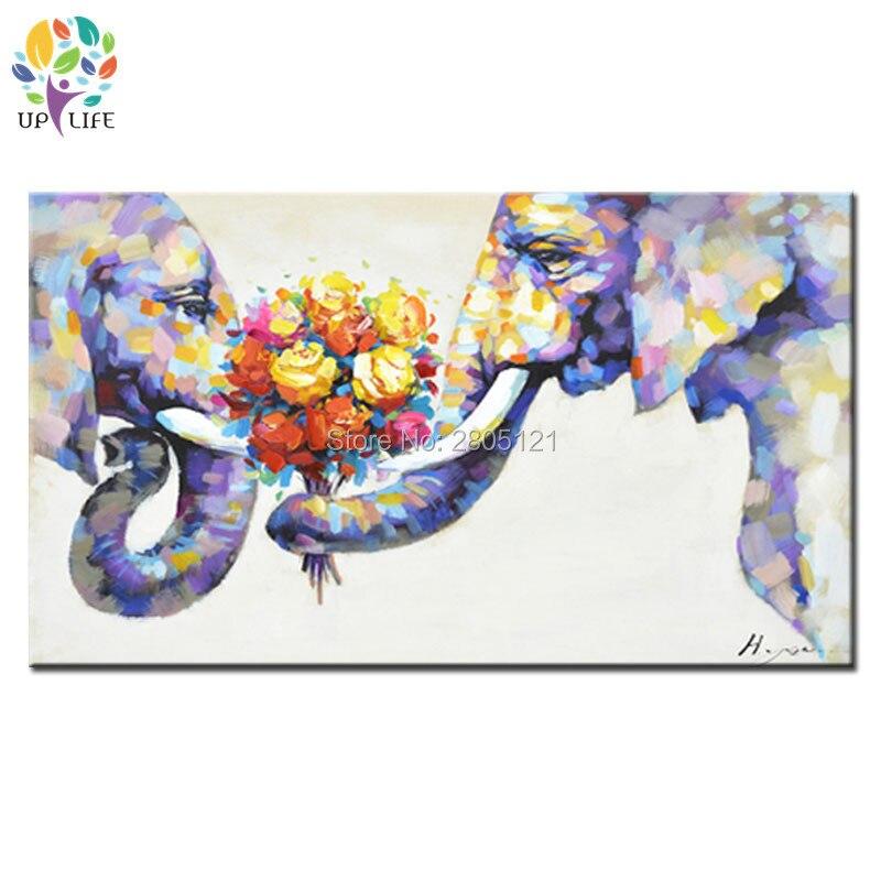 Dipinta a mano moderna Pittura A Olio animale Su Tela coppia immagine Elefante amore unico speciale regalo di nozze decorazione della parete di arte regalo