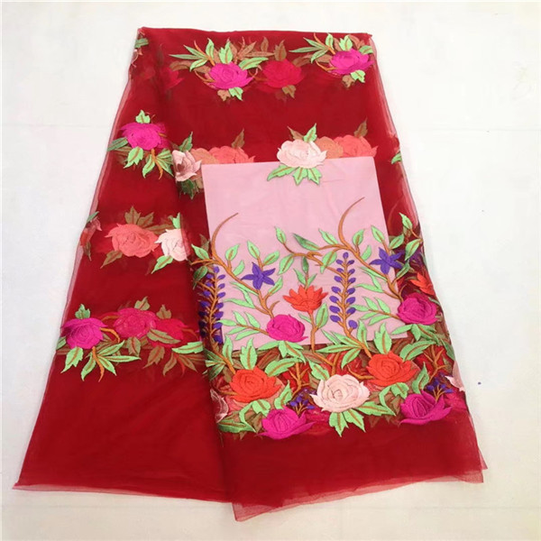 Red African Guipure French Lace Fabric 2017 African French Net Lace Fabric Colorful Latest African Laces Fabrics Embroidered