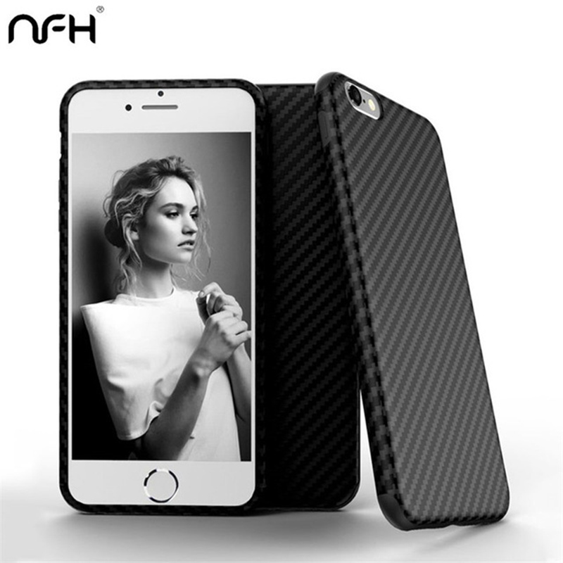 NFH 2019 Comfortable Shockproof Black Carbon Fiber Soft <font><b>Case</b></font> For <font><b>iPhone</b></font> 5S <font><b>6</b></font> 6S <font><b>Bumper</b></font> Housing For <font><b>iPhone</b></font> On 5 SE 7 Plus 8 Coque image