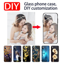 El iPhone X Xs Max Xr 6 6 S 7 8 plus Luxury DIY Personalized customized name photo print picture tempered glass phone case cover