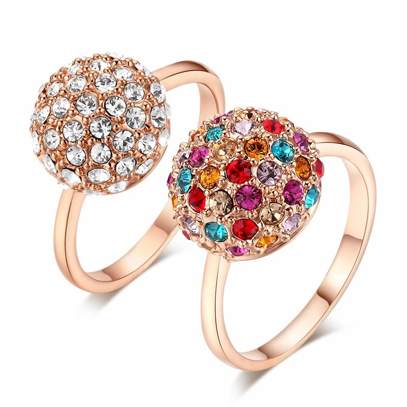 Top Quality ZYR089 Multicolour Crystal Ball Rose Gold Color Ring Jewelry Crystals From Austria Wholesale