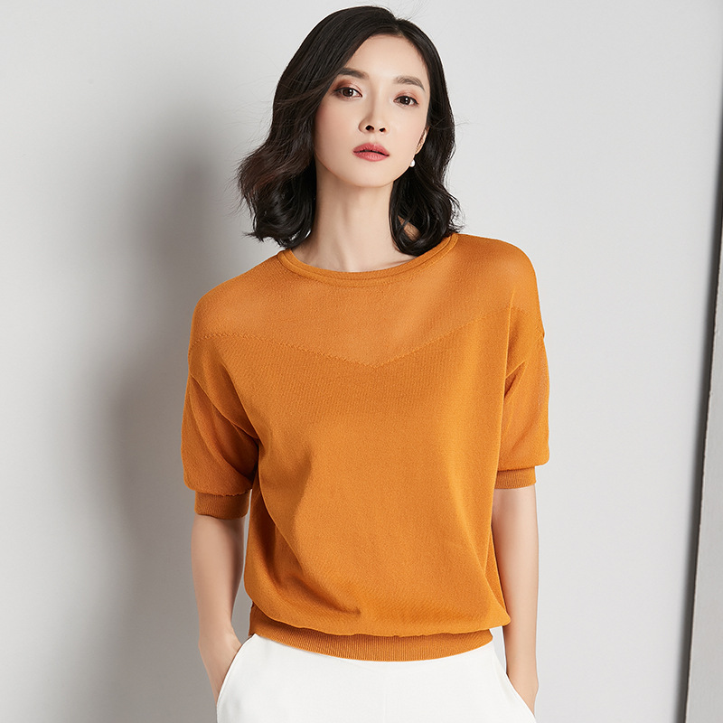Women short sleeve knitting woman top for spring&summer RAYON materials women blause ...