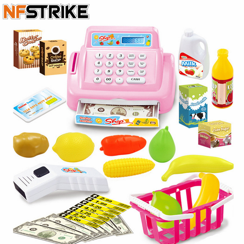 kids toys for children girls House Toy Mini Store Shop Cash Register Kit Toy Pretend & Play Playset - Pink
