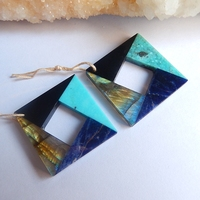 Natural Stone Turquoise Labradorite African Sodalite Obsidian Earrings 2018 Jewelry Wholesale Earrings 27x26x4mm 11.2g