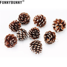 FUNNYBUNNY 9pcs Christmas Pine Cones Pendant With String Natural Wood Tree Decoration Crafts Home Ornament