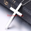 42mm*24mm Simple Atmosphere Men's Boy's Silver Cross Jewelry Gift 316L Stainless Steel Pendant Necklace Free 60cm Length Chain