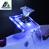 Luxury Deck Mount Waterfall Basin Faucet LED Color Changing Glass Spout Mixer Tap Chrome Finish