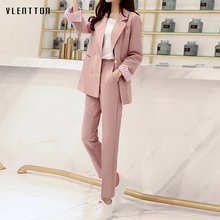Spring Pink Womens Pant Suit Double Breasted Office Blazers+ Pants Sets Striped Long Sleeve Trouser 2 Piece Set Women