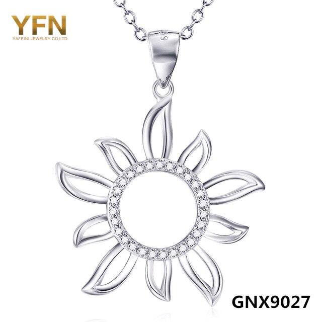 GNX9027 YFN Girasol Genuino 925 Collar de Plata de ley Cubic Zirconia Collares y Colgantes Joyas de Moda Para Las Mujeres