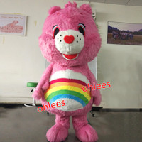 Ohlees custom made Actual real Picture pink care rainbow bear character mascot costume halloween Fancy dress