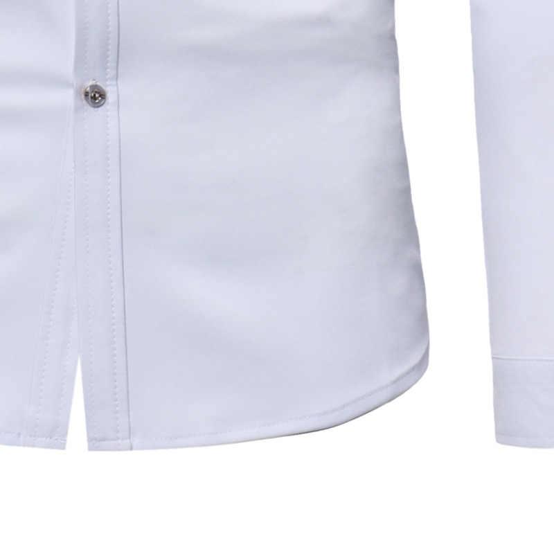 メンズフリルタキシードドレスシャツ 2018 ブランド新スリムフィット長袖スタンド襟シャツ男性ウェディング実行ウェディングシュミーズオム