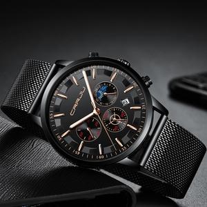Image 4 - New crrju Men Watches Top Brand Luxury Quartz Clock Chronograph Fashion Mesh Steel Watch Waterproof Sport Mens Watch Saat 2019