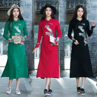 KYQIAO Traditional Chinese Dress 2018 Ethnic Dress Female Mexico Style Black Red Green Embroidery Maxi Dress