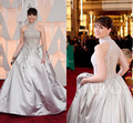 Fashion 2015 Red Carpet Handmade Flowers Pearls Ball Gowns High Collar Felicity Jones The 87th Oscar Celebrity Dresses