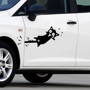 Забавный мультфильм Черный кот клип хвост шаблон виниловые настенные художественные наклейки для кухонного шкафа двери автомобиля украше...