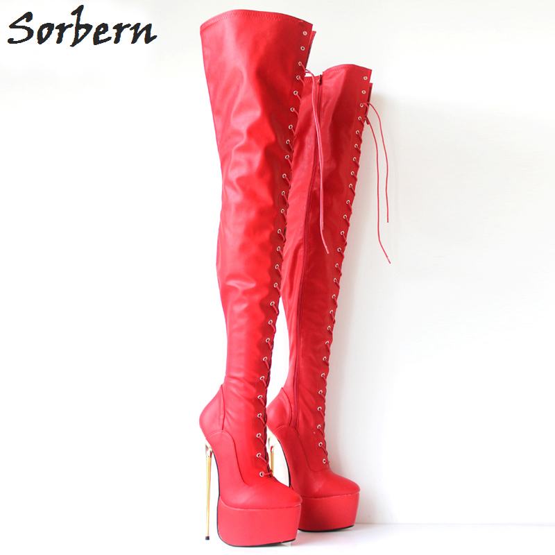 9ccec898d05c Sorbern 2018 New Ladies High Heeled Boots 22Cm Ultra High Heels Sexy Thin Gold  Metal Heeled Over The Knee Thigh High Boots Women