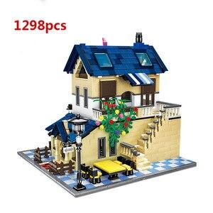 Image 2 - City Architecture Villa Cottage Model Building Blocks Compatible Friends Beach Hut Modular Home House Village Construction Toys