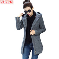 YAGENZ Autumn Winter Sweatshirt Women Long Coat Large Size High Quality Womens Zip Up Hoodies Tops