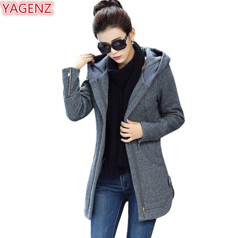 YAGENZ automne hiver sweat femmes Long manteau grande taille manteau de haute qualité à manches longues haut à la mode dames femmes Hoodies Top731