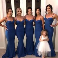 Королевский синий платье подружки невесты в стиле русалки 2019 Сексуальная Спагетти ремень королевский синий торжественное платье для Сваде