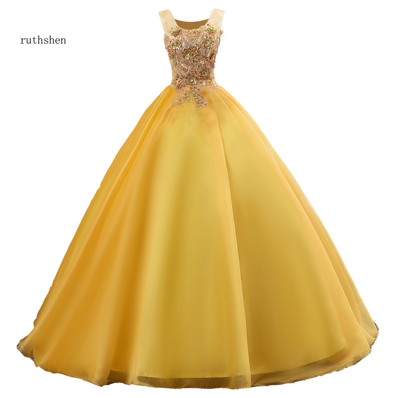 Ruthshen Vestidos Debutantes 2018 Quinceanera Dresses Illusion Ball Gown Gold Appliques Beaded Puffy Prom Dresses Vestidos Para